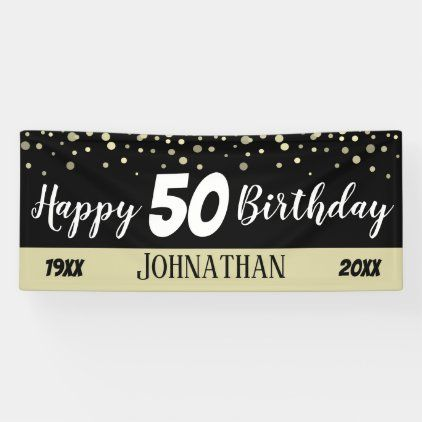 50th Birthday Party Text With Confetti Banner Zazzle Com In 2020 50th Birthday Banner 50th Birthday Party Personalized Birthday Banners