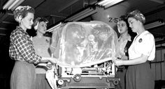 """Ford """"Rosie the Rivetter""""  WW2 women building the cars on the Ford Assembly lines - why these women even went back willingly to the kitchens of America is a mystery !!!!"""