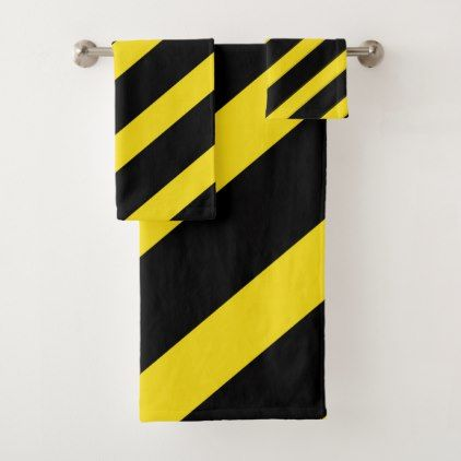 Black Yellow Stripes Striped Bath Towel Set Zazzle Com
