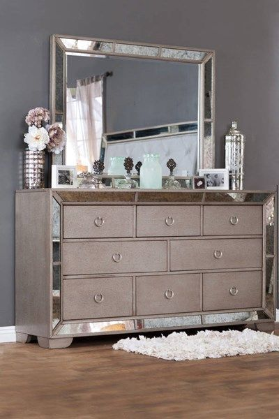 Loraine Modern Silver Solid Wood Dresser And Mirror