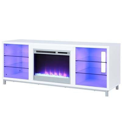 Ameriwood Home Cleavland 65 In White Particle Board Tv Stand Fits