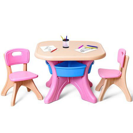 Gymax Plastic Children Kids Table Chair Set 3 Pc Play Furniture