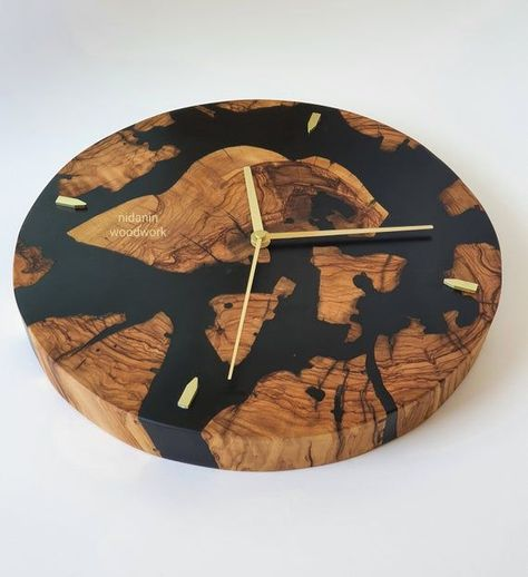 resin and wood clock