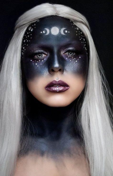 modern witch 13 Witch Makeup Looks Bewitching It Girls Are Wearing This Halloween Sfx Makeup, Costume Makeup, Makeup Art, Makeup Shop, Pink Makeup, Purple Witch Makeup, Evil Makeup, Creepy Makeup, Makeup Brushes