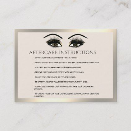 Lashes Extension Aftercare Instructions Luxury Business Card Zazzle Com Luxury Business Cards Makeup Artist Business Cards Lash Extensions