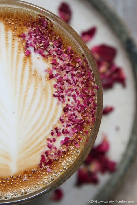 16 lovely coffee shops to visit in London. Farm Girl in Notting Hill has a beautiful rose latte.