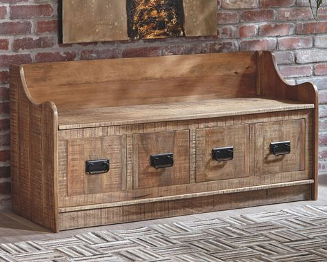Garrettville Storage Bench Brown In 2020 Wood Storage Bench