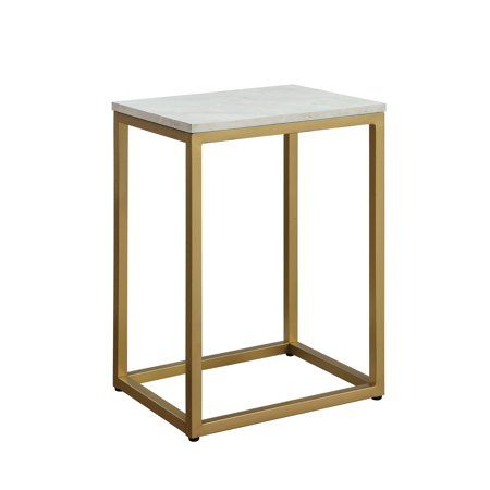 Mainstays End Table White Top With Gold Frame Walmart Com Nesting Tables Living Room Table Furniture