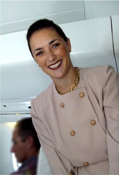 French airline stewardess strip for pilot