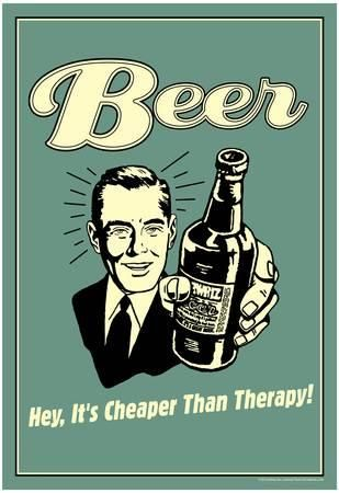 Beer Cheaper Than Therapy Funny Retro Poster Masterprint - at AllPosters.com. Choose from over 500,000 Posters & Art Prints. Value Framing, Fast Delivery, 100% Satisfaction Guarantee.