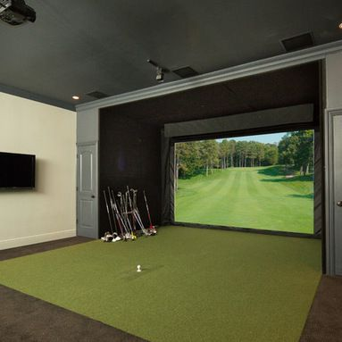 Theater Room With Golf Simulator Design Ideas  Pictures  Remodel and Decor    golf course home  golf room   Pinterest   Golf simulators  Golf and RoomTheater Room With Golf Simulator Design Ideas  Pictures  Remodel  . Golf Decorated Rooms. Home Design Ideas