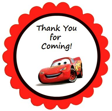 Disney Cars Party Favor Labels - These round thank-you labels are perfect for your Cars birthday party. Print and cut out or print on sticker paper (Avery No. 9 labels per sheet and each round label is 2 inch in diameter.