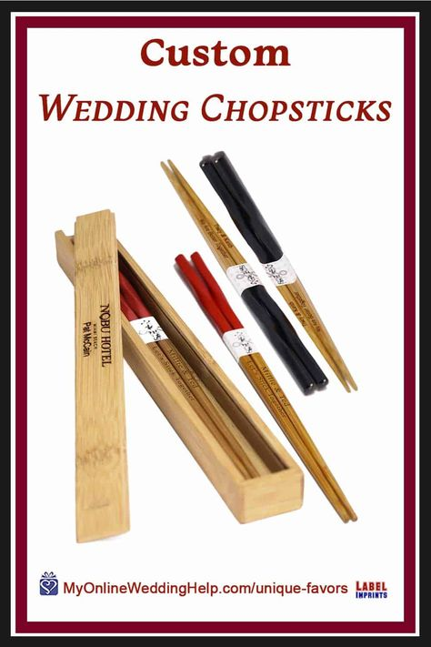Custom wedding chopsticks are an elegant addition to any Asian theme wedding. They make wonderful guest gifts as well. Look for more information and a buy link in the non-traditional wedding favor ideas post on MyOnlineWeddingHelp.com #WeddingFavors #ThemeWedding #CustomChopsticks #WeddingIdeas