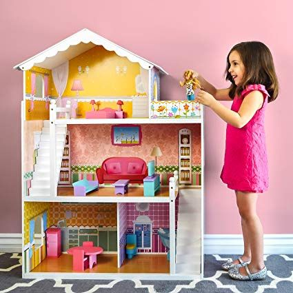 Best Choice Products Sky1797 3 Story Kids Large Wooden Dollhouse Playhouse Set 17 Mini Wooden Fur Best Doll House Barbie Doll House Large Dolls House