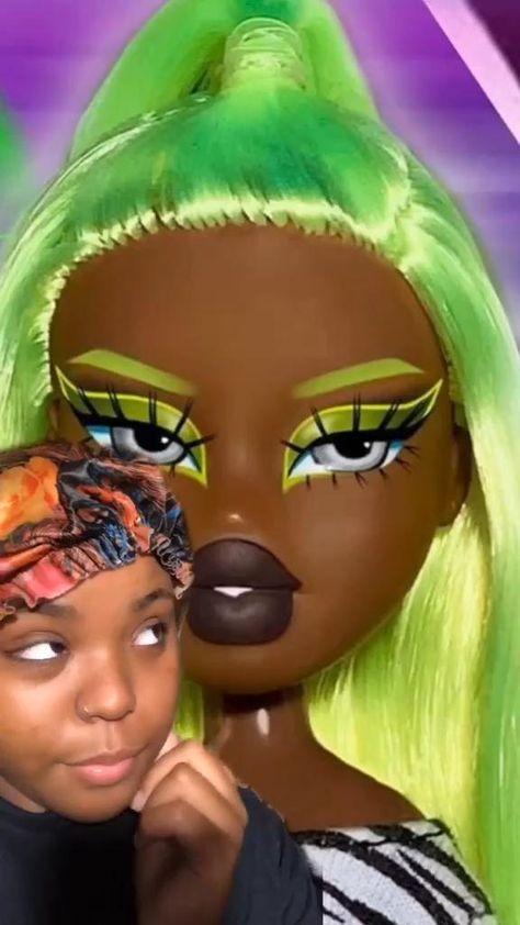 Green Hair Doll Make Up| Crazy Make Up Transformation