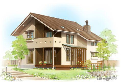 K25 一戸建て手描きパース 住宅手書き 外観パース サンデッキのある家