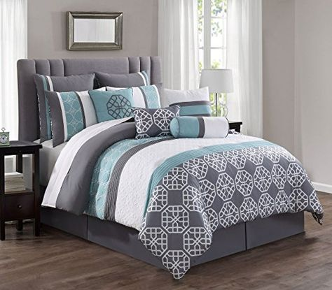 14 Piece Aubrey Spa Gray White Reversible Bed In A Bag W Https