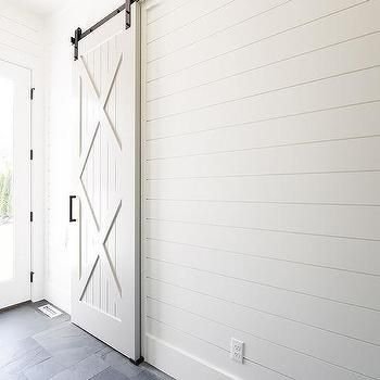 White X Trim Barn Door On Rails Garage Door Styles Garage Door Design Garage Door Types