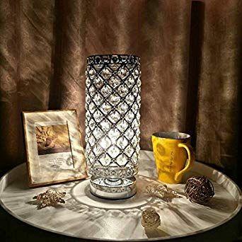 Lampe Cristal Tomshine Abat Jour Lampe De Chevet Cristal De Mode Creatif Lampe De Table Argent Pour La Commode De Bi Desk Lamps Best Desk Lamp Candle Holders