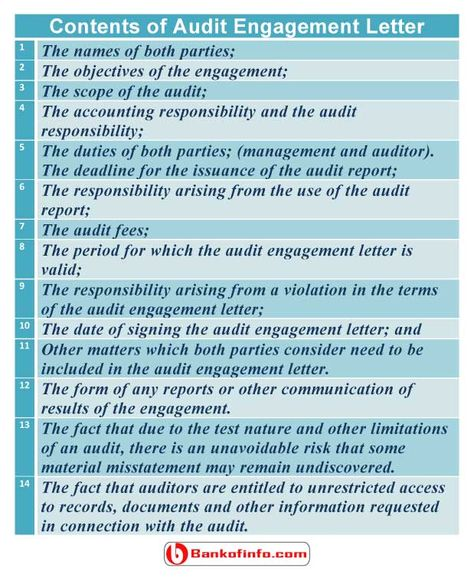 Contents Of Audit Engagement Letter  Auditing