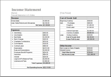 Income Statement Template Download At Http\/\/wwwxltemplatesorg   Income  Statement Template