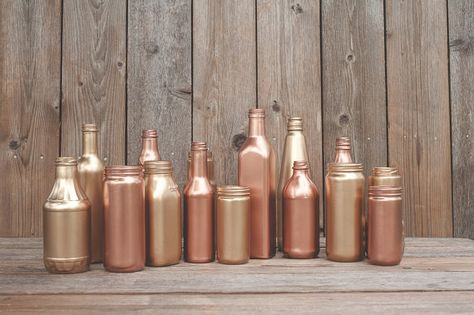 15 Painted jars. Vases. Copper, rose gold, blush gold, Wedding centerpiece, new years decor, party decor. Gold painted. on Etsy, 56,00€