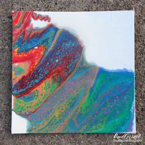 Rainbow Acrylic Paint Dirty Pour on Canvas DIY Tutorial