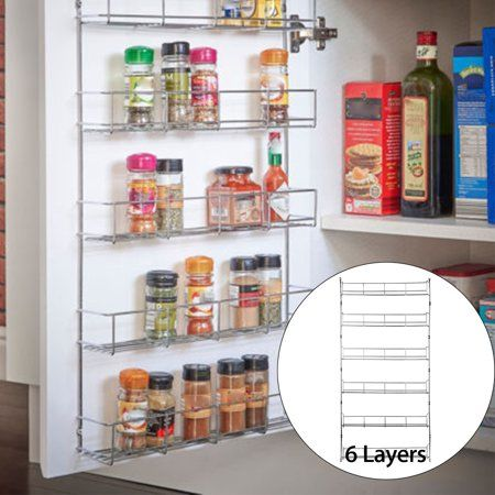 Kitchen Door Wall Mounted Storage Shelf Holder Cabinet Organizer Hanging Racks