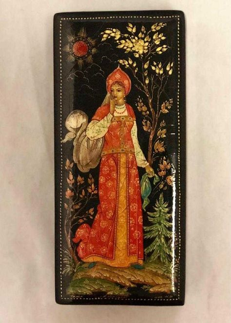 Papier Mache Hand Painted Handmade Jewelry Box Russian Lacquer Miniature Box,Palekh Art Painting School The Battle