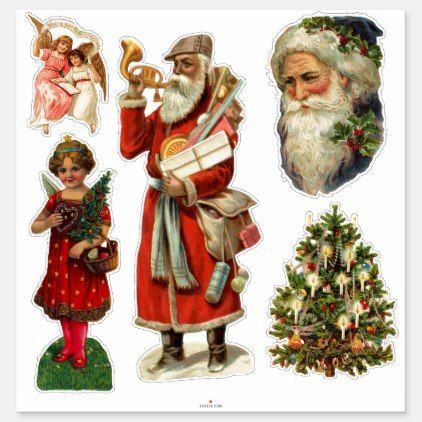 Vintage Victorian Christmas Sticker Collection Zazzle Com Christmas Stickers Sticker Collection Victorian Christmas