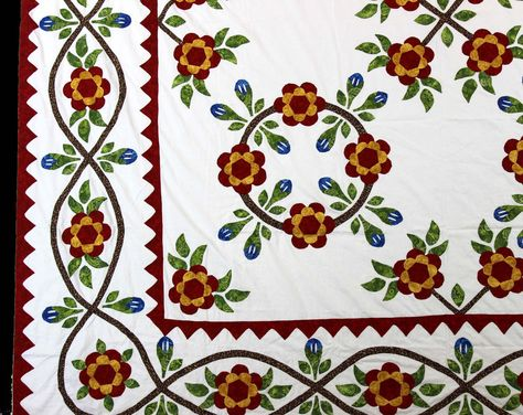 Floral Hand Applique QUILT TOP Perfect to showcase your quilting skills