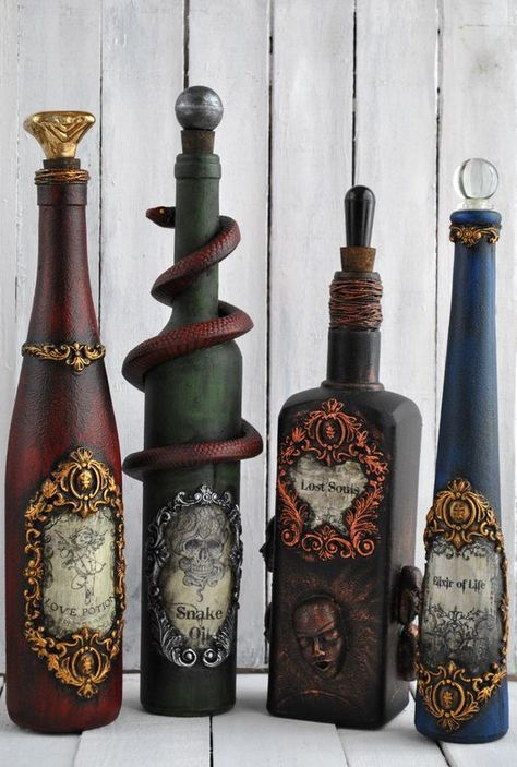 Bottle art, try this bottle craft altered bottle with Powertex for magical potion bottles. Every day is Halloween Halloween Prop, Diy Halloween Decorations, Holidays Halloween, Halloween Crafts, Halloween Labels, Halloween Witches, Steampunk Halloween, Outdoor Halloween, Recycled Wine Bottles