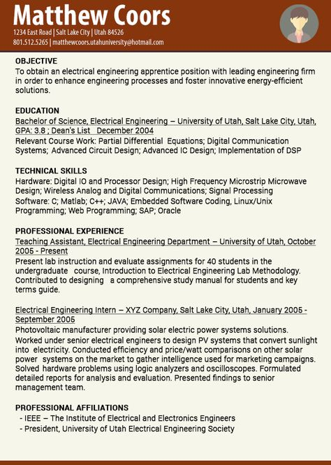 The company briefly describes about Electrical Engineering - electrical engineering student resume
