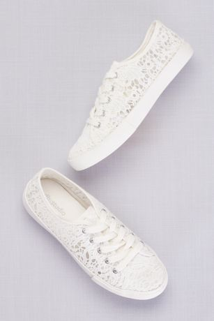 Lace Crochet Sneakers David S Bridal Wedding Shoes Lace Lace Sneakers Wedding Sneakers