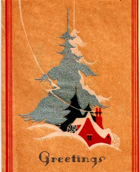 Vintage Christmas Card Art Deco Cottage Chimney By Paperprizes