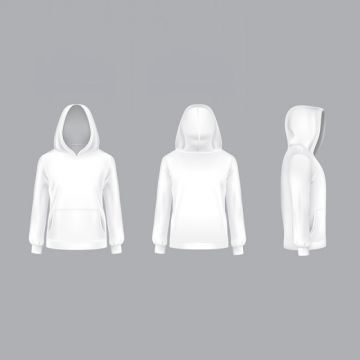 Vector Mockup With Realistic White Hoodie Hood Hoodie Hoody Png And Vector With Transparent Background For Free Download Hoodie Vector Hoodie Template White Hoodie