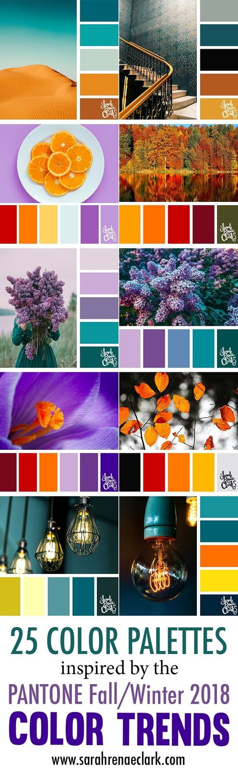 These color schemes are inspired by the PANTONE color trend predictions for Fall/Winter 2018 - Click to see all 25 color palettes! Color palettes created by Sarah Renae Clark - www.sarahrenaeclark.com #colors #colorpalettes s#colorschemes