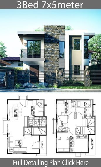 Small Home Design Plan 7x5m With 3 Bedrooms Beautiful House Plans Layout Architecture Small House Design Plans