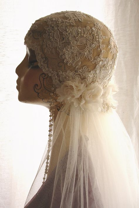 20's 30's style beaded lace cap with veil and silk chiffon roses attached- made by Meryl at Vintage Smart UK