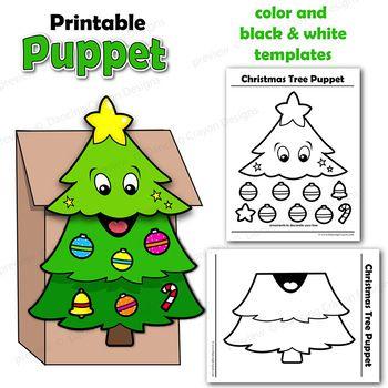 Christmas Tree Craft Activity Printable Paper Bag Puppet Paper Bag Puppets Preschool Christmas Crafts Christmas Tree Crafts