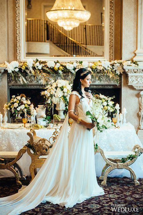 An Ethereal Take On Ancient Greece Wedding Ideas Wedluxe Magazine Greek Wedding Dresses Greek Goddess Wedding Dress Grecian Wedding Dress