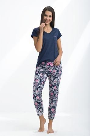 Pizama Damska Luna Kod 418 Granatowy Fashion Pants Capri Pants