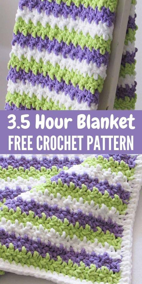 Crochet Square Blanket, Crochet Baby Blanket Free Pattern, Crochet Ripple, Baby Afghan Crochet, Manta Crochet, Afghan Crochet Patterns, Crochet Hats, Crochet Baby Blankets, Crochet Baby Stuff