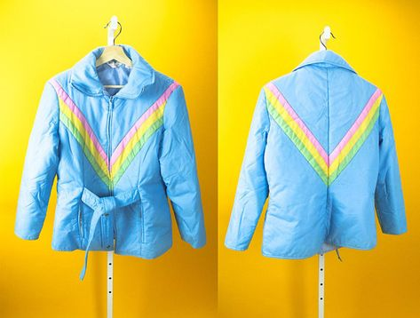 599c88ba11 Vintage MONTGOMERY WARD baby blue ski snow color block jacket features an  elastic easter rainbow pastel v-striped print with attached waist belt.