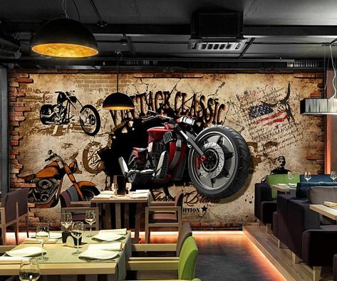 Vintage Wallpaper Motorbike Wall Mural Retro Brick Wall Print | Etsy