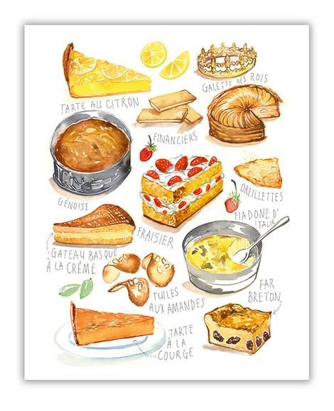Food art Bakery wall art French Apple Tart recipe print Watercolor painting Kitchen art Illustrated recipe poster French kitchen decor