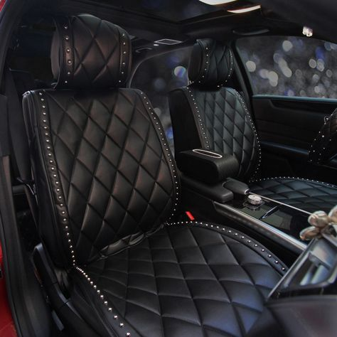 Buy Wholesale Fashion Rivet Leather Car Seat Cushion Universal Women Auto Seat Covers - Black from Chinese Wholesaler Bling Car Accessories, Car Interior Accessories, Car Seat Cover Sets, Auto Seat Covers, Girly Car Seat Covers, Leather Car Seat Covers, Jeep Wrangler Accessories, Car Interior Decor, Truck Accessories