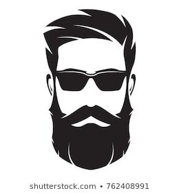 Bearded Mans Face Hipster Character Fashion Silhouette