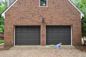 Image Result For Dark Red Brick House With Black Shutters Black Garage Door Red Brick House Garage Door Colors Brown Garage Door