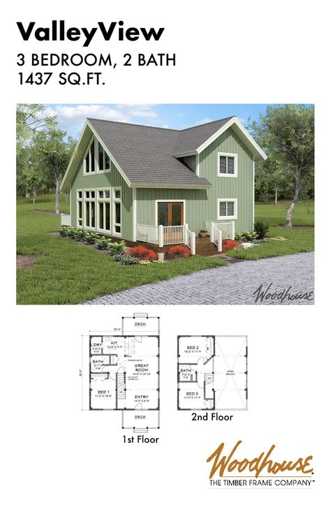 The Valleyview Is A 1 437 Square Foot Timber Frame Home Plan With 3 Bedrooms And 2 Bathrooms Down Timber Frame Home Plans Lake House Plans Timber Frame Homes